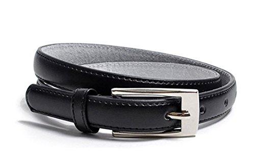 Solid Color Leather Adjustable Skinny Belt Black Large (Thin Red Belt compare prices)