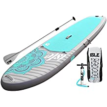 """ISLE 10'4 Airtech Inflatable Yoga Stand Up Paddle Board (6"""" Thick) iSUP Package   Includes Adjustable Travel Paddle, Carrying Bag, Pump"""