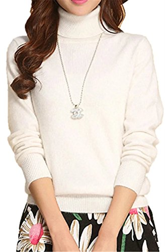 Betusline Women Basic Solid Slim Fit Turtleneck Sweater Pullover