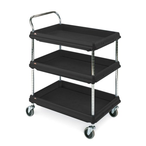 Metro Deep Ledge Series Polymer Utility Cart with 4 Swivel Casters, 3 Shelves, 400 lb. Total Capacity, 41 Height, x 27 Width x 38-3 4 Length, Black
