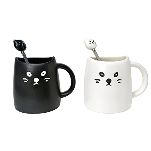 [New Version]Ilyever 2 Pack Cute Cat Coffee Milk Tea Mugs Ceramic Mug Cup with 2 Pcs Cat Spoons, Black & White