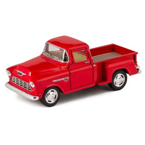 KiNSMART Red 1955 Chevy Stepside Pick-Up Die Cast Collectible Toy - Vintage Farm Toys