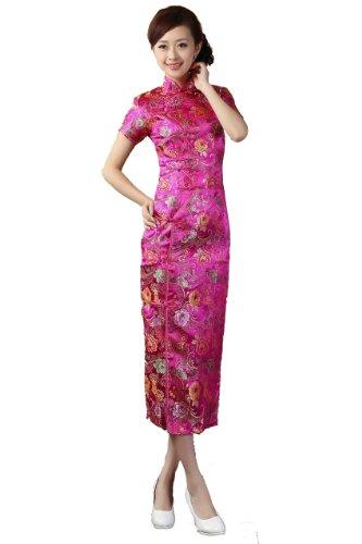 [JTC Brocade Party Wedding Cheongsam Chinese Dress Han Costume Long Skirt Qipao (XL)] (Han Chinese Costume)