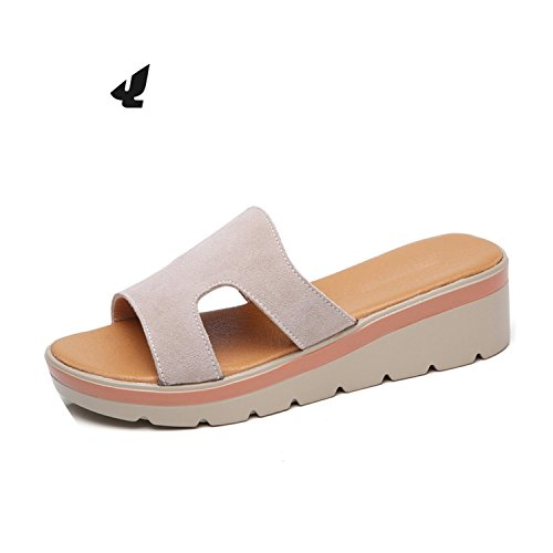 Round on Women 2018 Summer Leather 805 805 Slip Platform Green Toe Flops Slippers Flat Sandals qxR08
