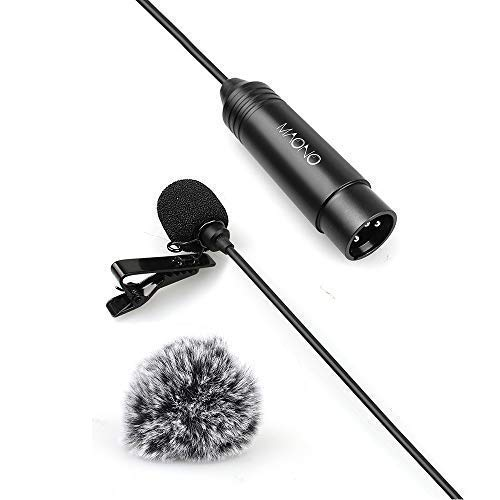 XLR Lavalier Microphone 6.56ft Phantom Power MAONO XLR 10 High Sensitivity and Flat Frequency Metal Omnidirectional Lapel Mic for Zoom, Camcorders, Canon, Sony, Panasonic, Tascam