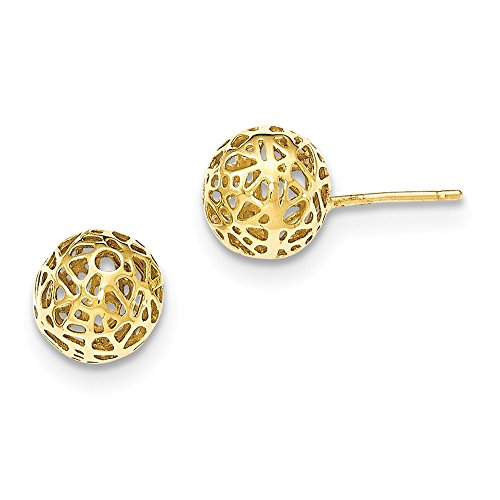 14K Yellow Gold Yellow Large Fancy Ball Post Earrings by Unknown