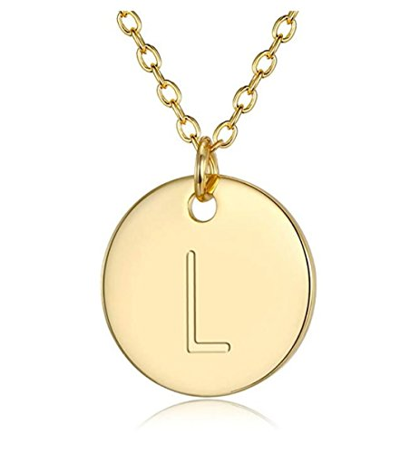 Disc Silver Sterling Love (14K Gold on Sterling Silver Letter Pendant Necklace 18