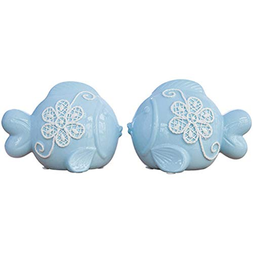 Xianw 1 Pair of Fish Art Decorations,Ceramics DIY Home Decor Art Bedroom 1914Cm+2015Cm
