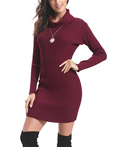 Stretchable Sweater Turtleneck Long Bodycon Abollria Knit Red Sleeve Elasticity Wine Women Dress wgTCxg7qa