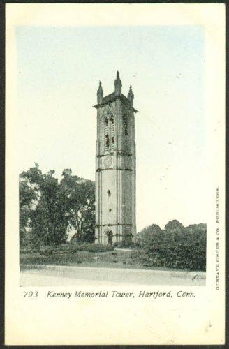 (Keney Memorial Tower Hartford CT glitter added undivided back postcard 1900s)