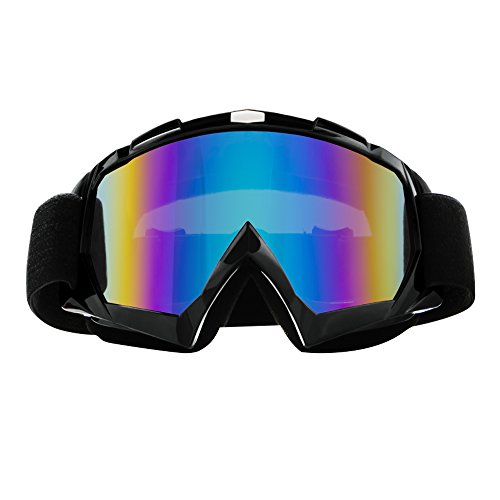 Motocross Goggles (Motorcycle Goggles Dirt Bike Goggles 4-FQ Anti UV Safety Goggles Anti Scratch Motocross Goggles Dustproof Motorcycle Glasses Motorbike Goggles for Cycling Riding Climbing Skiing-Colorful Lens)
