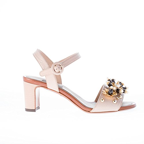 Pelle Dolce Applicazioni Con Cm Beige Donna In Gabbana Tacco Stampa amp; Iguana Gioiello Sandalo 7 zvnXSz