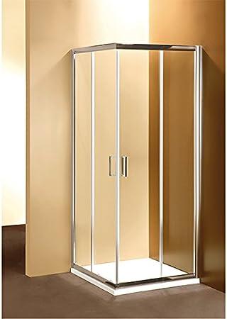 Mampara de Baño 90 X 90 cm Angular Marco Ponsi Gold Serie de Puertas Correderas con Cristal Transparente: Amazon.es: Hogar