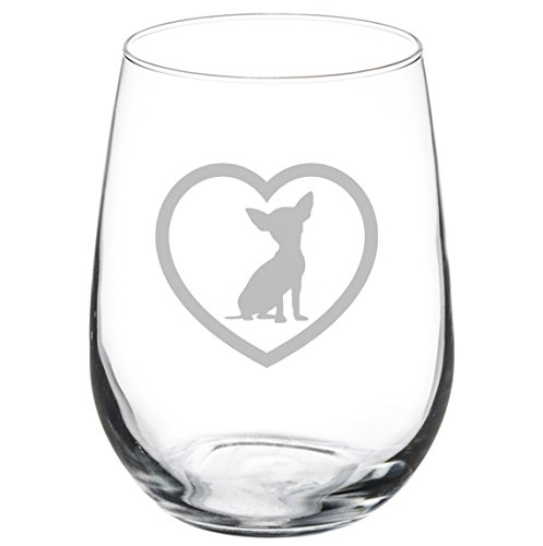 Wine Glass Goblet Chihuahua Heart (17 oz Stemless)