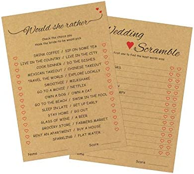 Would She Rather and Wedding Scramble Bridal Shower Game Cards (50 pack – 2 Games in 1 Sheet) – Who Knows Bride Best - Engagement Bachelorette Dinner Fun Party Games – Guessing Activity - Kraft Rustic