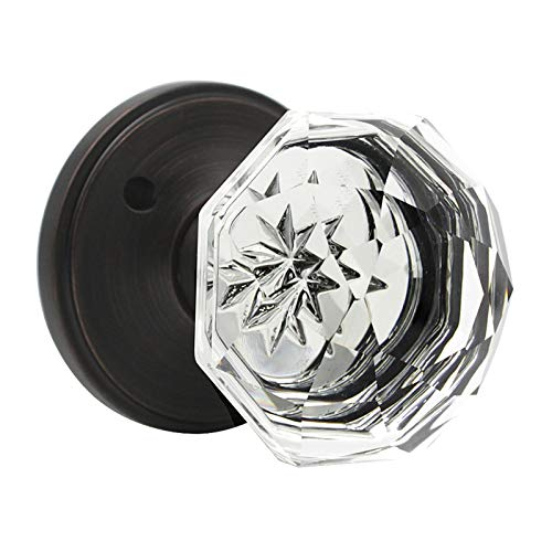 (Crystal Privacy Doorknob with Classic Round Rosette, Privacy Knob Glass Crystal Door Knobs Interior with Lock for Bathroom Bedroom (Oil Rubbed Bronze) – 2pack)