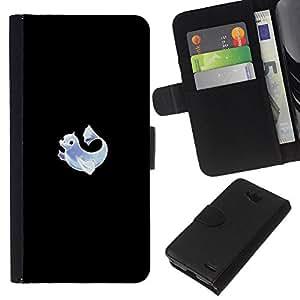 LECELL--Cuero de la tarjeta la carpeta del tirón Smartphone Slots Protección Holder For LG OPTIMUS L90 -- Meter Monster Neon delfín --