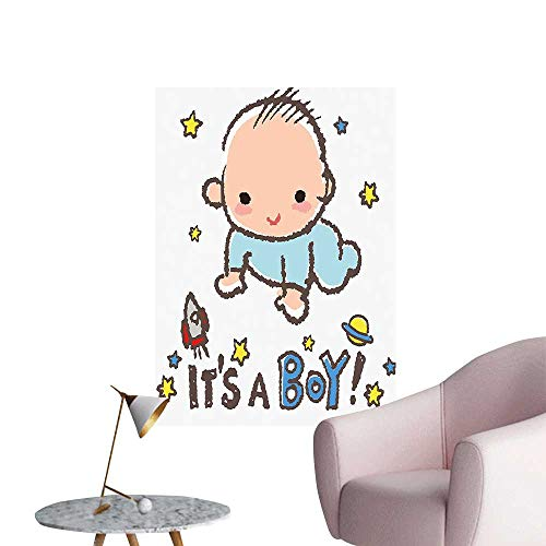 (Wall Art Prints Little Baby Boy Smiling Rocket Space Kid sy Multicolor for Living Room Ready to Stick on Wall,12