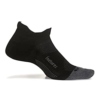 Feetures Elite Max Cushion No Show Tab Athletic Running Socks for Men and Women - Black - Size Small