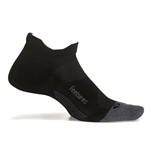 Feetures Elite Max Cushion No Show Tab Black - Size Medium