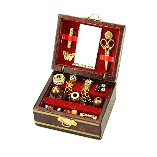 Gbell Fine Jewelry Box for 1:12 Mini Dollhouse Furniture, Mini Dollhouse Room Decor Miniatures Accessory Pretend Play Toy for Little Girls Gifts (Brown)