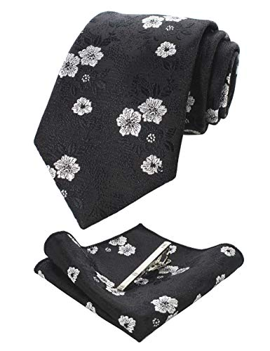 JEMYGINS Silk Black White Floral Necktie and Pocket Square, Hankerchief and Tie Bar Clip Sets for Men (6)