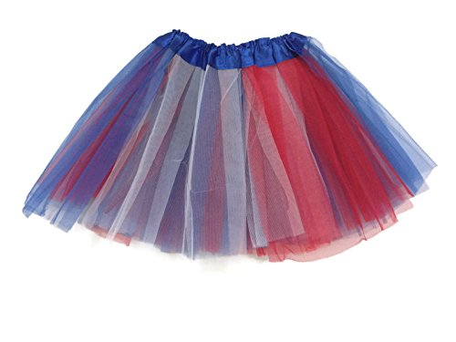Rush Dance Colorful Kids Girls Ballerina Dress-Up Princess Costume Recital Tutu (One Size, Red, Blue & White (July 4th))