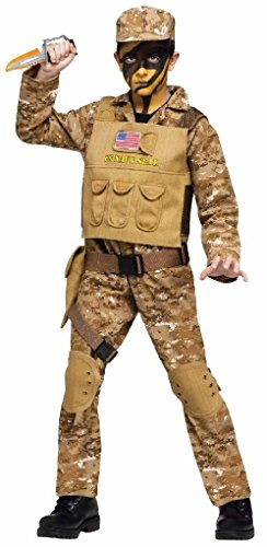 [Ponce Boys Navy SEAL Costume Camouflage Fatigues Vest Military Army Suit SEALs Child] (Vampire Suit)