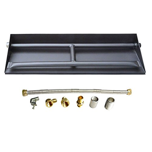 Stanbroil 14.5-inch Propane Gas Powder Coated Steel Fireplace Dual Flame Pan Burner Kit (Gas Fire Pit Burner)
