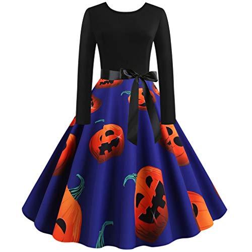 fd674a78937d WUAI Halloween Dress, Women's Long Sleeve Vintage Cocktail Evening Prom  Pumpkin Skeleton Cosplay Party Costume(Purple,Large)
