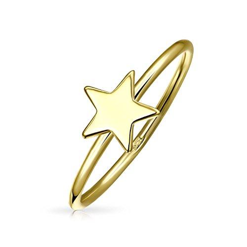 Bling Jewelry Chapado en oro plata de ley Star de grosor apilable Anillo de Midi