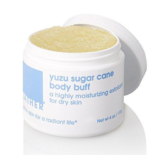 LATHER Yuzu Sugar Cane Body Buff 4 oz - oil-based, highly moisturizing body scrub made with pure cane sugar and tangy yuzu essential oil from Japan ()