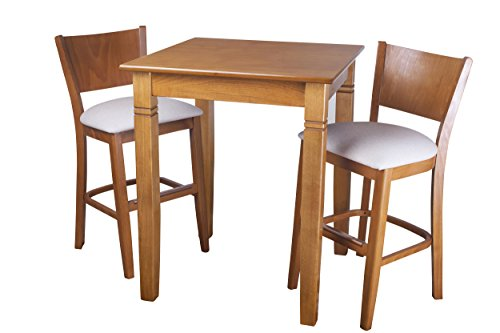 Beechwood Mountain PB-086B24-C 3Piece Solid Beech Wood Pub Set for Kitchen & Dining, Cherry