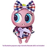 Distroller Ksimerito Square Patterns Pink Dress w/ Hair Bow - Nerlie Neonate Baby Doll Purple