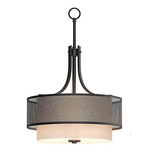 - Home Decorators Collection 3-Light Bronze Mesh Pendant with Inner Cream Fabric Shade