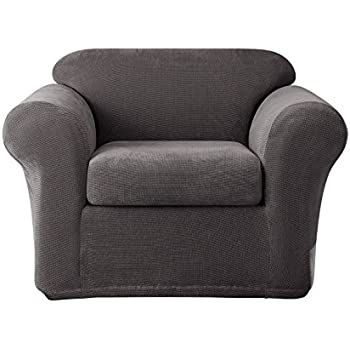 Merveilleux Sure Fit Stretch Metro 2 Piece   Chair Slipcover   Gray (SF39411)