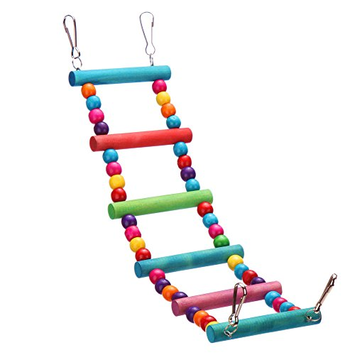 Colorful Parrot Chew Toys Step Ladder Flexible Wooden - Birds Wooden Nest