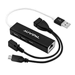AuviPal Ethernet Adapter can be used for adding extra Ethernet & USB ports to your device for connecting stable wired network, wireless keyboard mouse and USB flash drive etc while continuing to charge your device, Ideal for Streaming TV ...