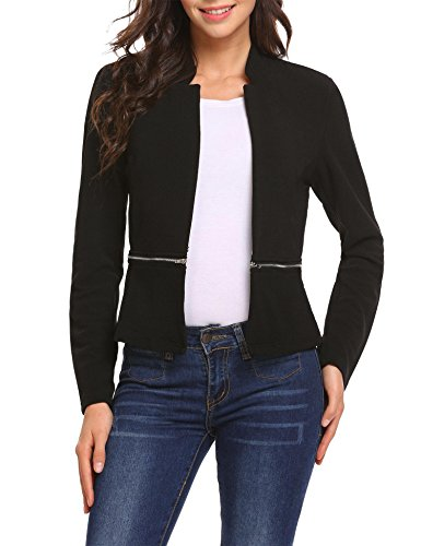 ANGVNS Women's Casual Long Sleeve V-Neck Open Front Zipper Blazer Jacket
