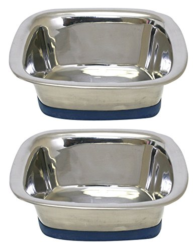 (2 Pack) of OurPets Premium DuraPet Square Dog Bowls - Medium ()