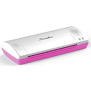 "Swingline Laminator, Thermal, Inspire Plus Lamination Machine, 9"" Max Width, Quick Warm-Up, Includes Laminating Pouches, White / Pink (1701865ECR)"