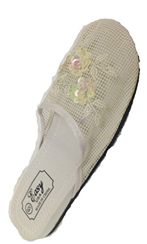 Women's with Mesh USA White Easy Slippers Sequin vWn5x1