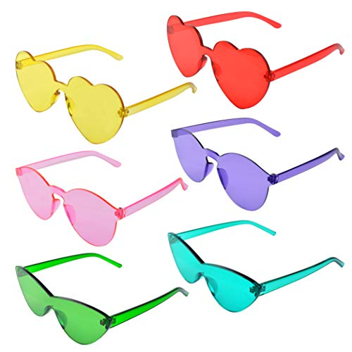 Colorful Rimless Sunglasses, Miayon 6 Pair of One Piece Transparent Candy Color Glasses Tinted Eyewear (6pcs)