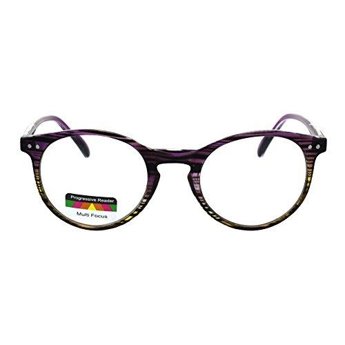 Round Keyhole Thin Plastic Horn Rim Tri-focal Progressive Reader Eyeglasses Purple Yellow Stripe - Plastic Rim