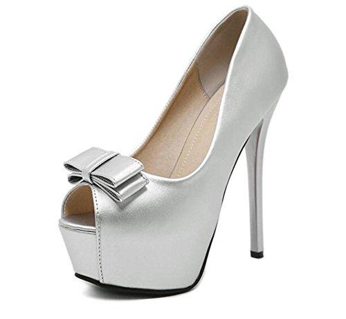 Femmes Chaussures Peep Toe Court mince avec talons hauts Sandales Bow Talons hauts Femmes Simple chaussures , silver , 38