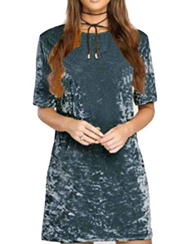 T Shirt Mini Dress Short Blue Tops Sleeve Velvet Womens Comfort Cromoncent qHTFpxw