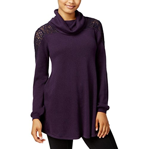 Style & Co. Womens Lace Inset Cowl Neck Sweater Purple (Inset Cowl Neck)