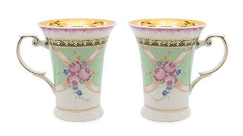 - Royalty Porcelain 2-pc Mug for Tea or Coffee, Fine Bone China Porcelain (Floral Green)