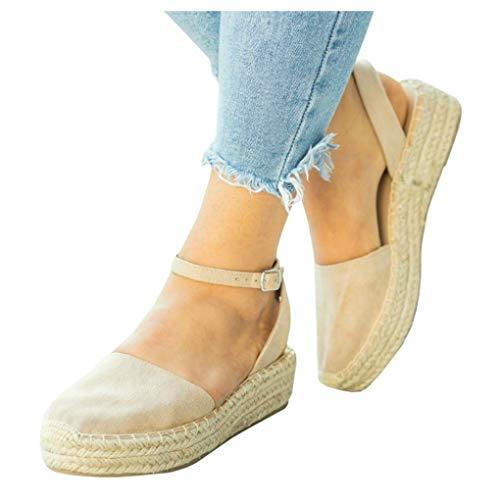LAICIGO Womens Closed Toe Ankle Strap Espadrille Low Flat Platform Wedge Heel Sandal Slides Shoe
