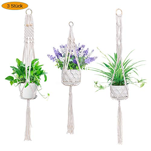 New rui cheng Plant Hanger, Macrame Plant Holder Basket Hanging Planter Basket Wall Holder Stand with 3 Pack Hanging…